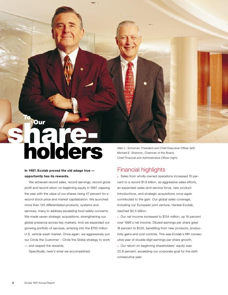 To            Our  share-     holders                                                         Allan L. Schuman, President ...