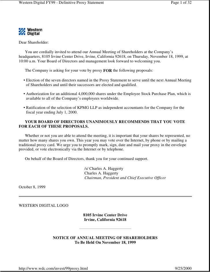 Western Digital FY99 - Definitive Proxy Statement                                             Page 1 of 32     Dear Shareh...