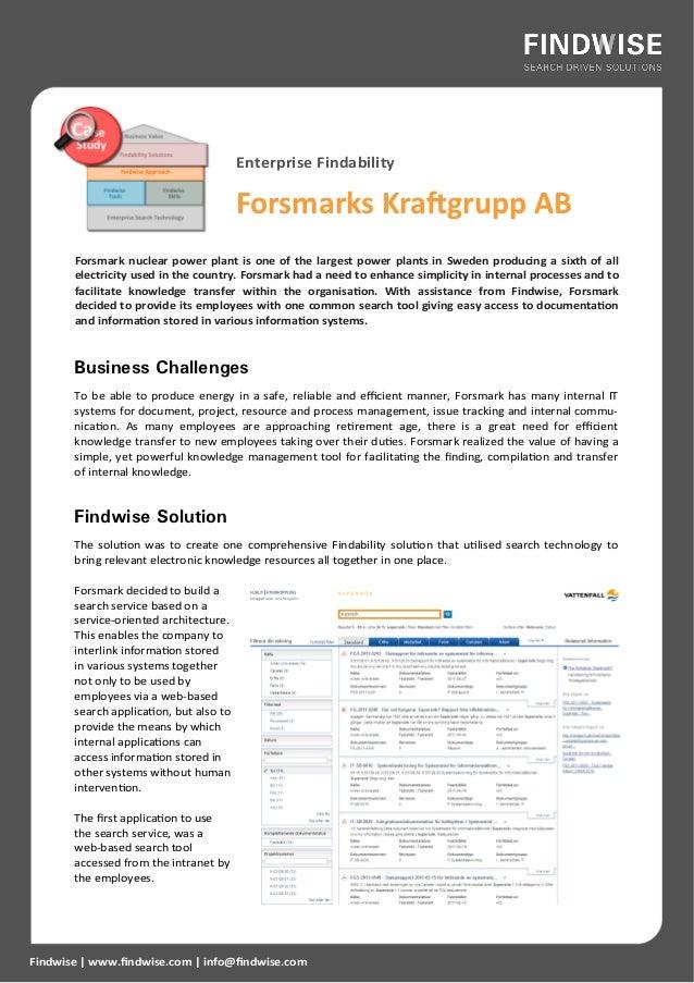 Enterprise Findability                                         Forsmarks Kraftgrupp AB       Forsmark nuclear power plant ...
