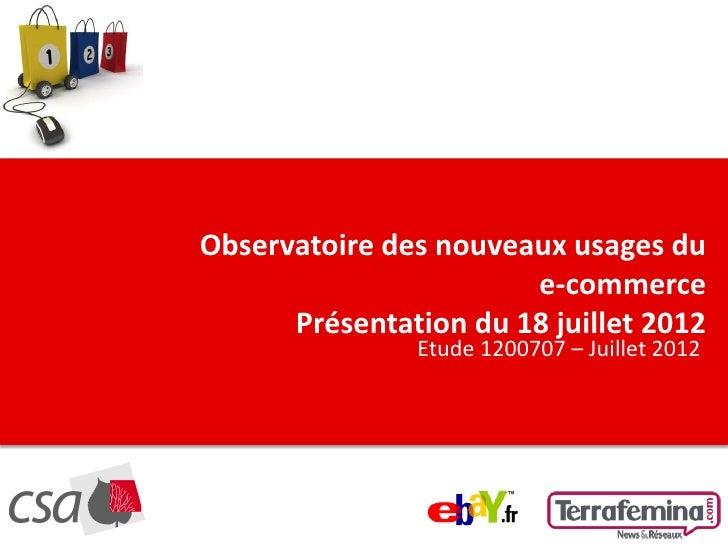 CLIQUEZ POUR MODIFIER LE STYLE DU TITRE            Observatoire des nouveaux usages du                                   e...