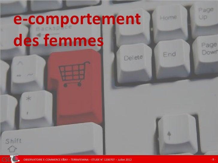 e-comportementCLIQUEZ POUR MODIFIER LE STYLE DU TITRE des femmes   OBSERVATOIRE E-COMMERCE EBAY – TERRAFEMINA – ETUDE N° 1...