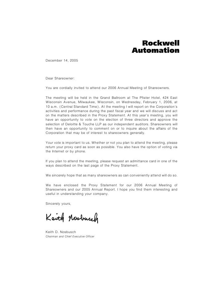 December 14, 2005    Dear Shareowner:  You are cordially invited to attend our 2006 Annual Meeting of Shareowners.  The me...