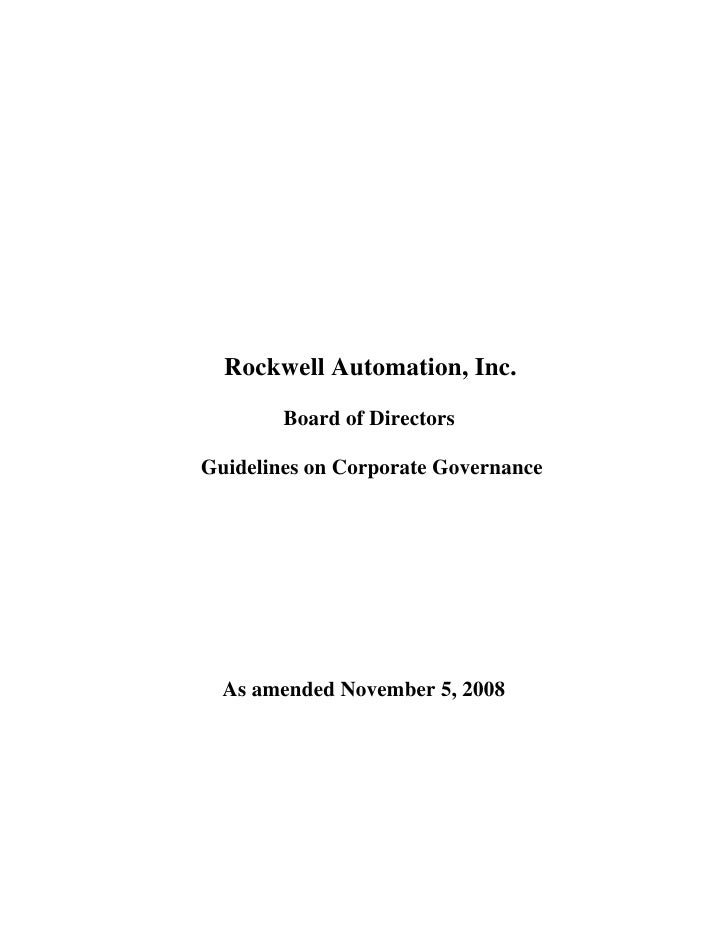 Rockwell Automation, Inc.         Board of Directors  Guidelines on Corporate Governance       As amended November 5, 2008