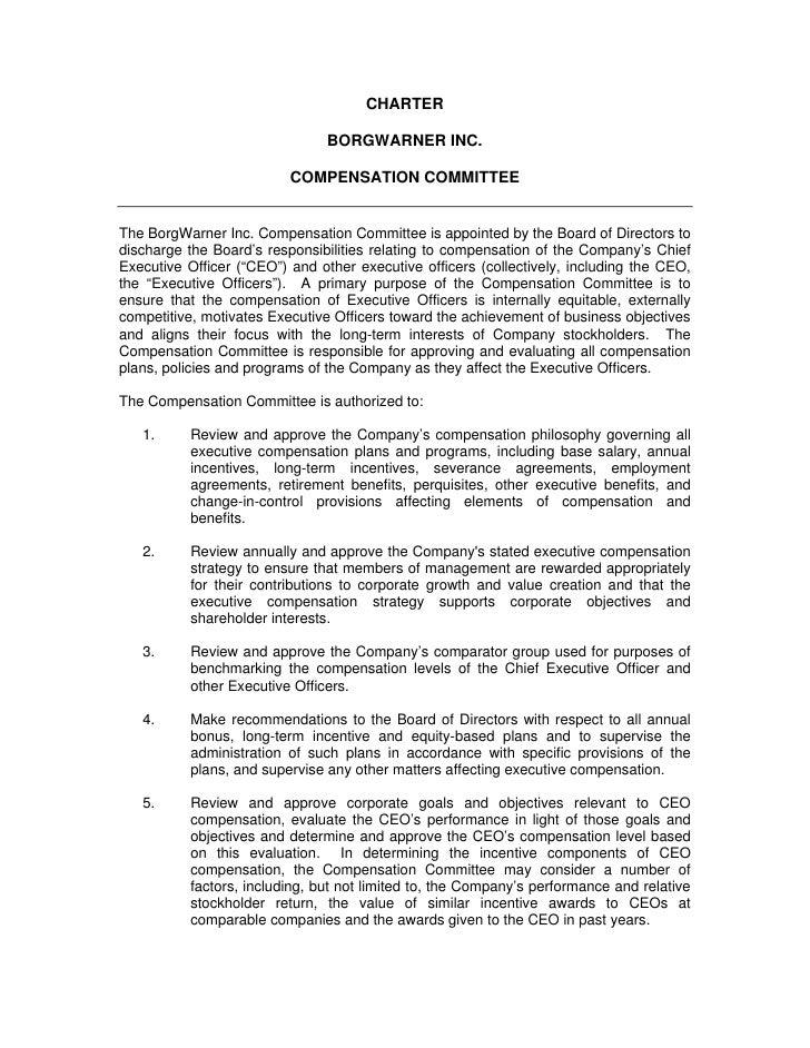 CHARTER                                  BORGWARNER INC.                            COMPENSATION COMMITTEE   The BorgWarne...