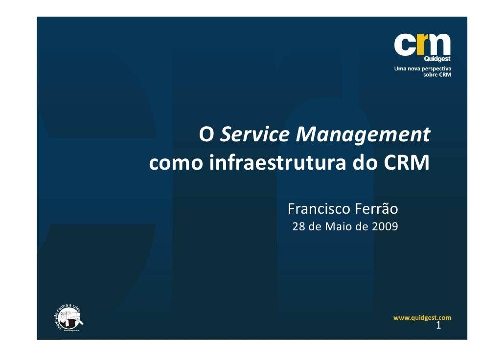 O Service Management como infraestrutura do CRM             Francisco Ferrão              28 de Maio de 2009              ...