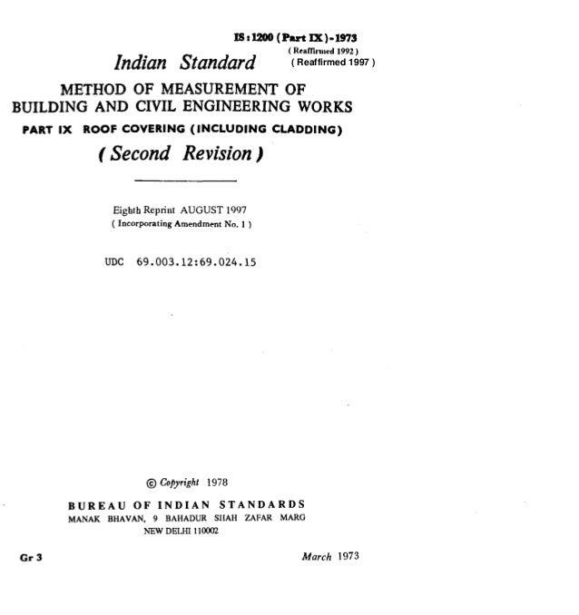 lBrl200 (Put lx)-1973 Indian Standard ( Reaffkmcd 1992 ) METHOD OF MEASUREMENT OF BUILDING AND CIVIL ENGINEERING WORKS PAR...
