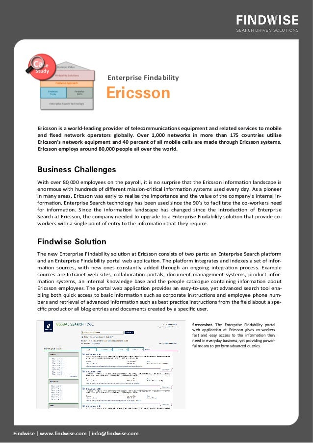 Enterprise Findability                                      Ericsson         Ericsson is a world-leading provider of telec...