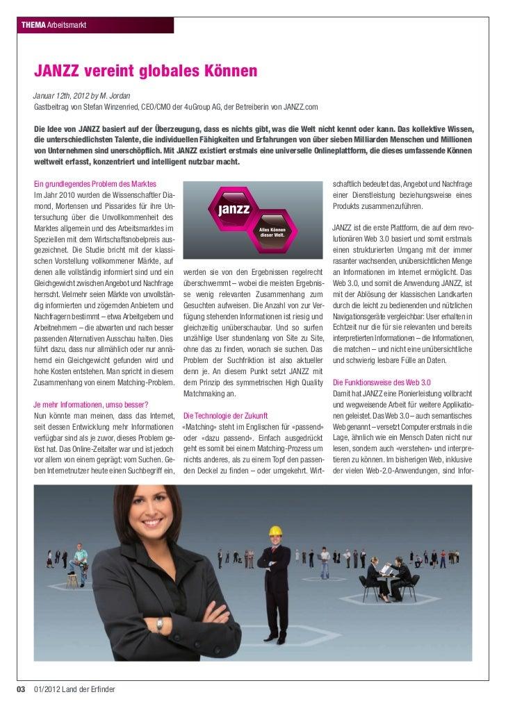 ThEMA Arbeitsmarkt     JANZZ vereint globales Können     Januar 12th, 2012 by M. Jordan     Gastbeitrag von Stefan Winzenr...