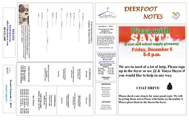 DEERFOOTDEERFOOTDEERFOOTDEERFOOT NOTESNOTESNOTESNOTES December 1, 2019 GreetersDecember1,2019 IMPACTGROUP1 WELCOME TO THE ...