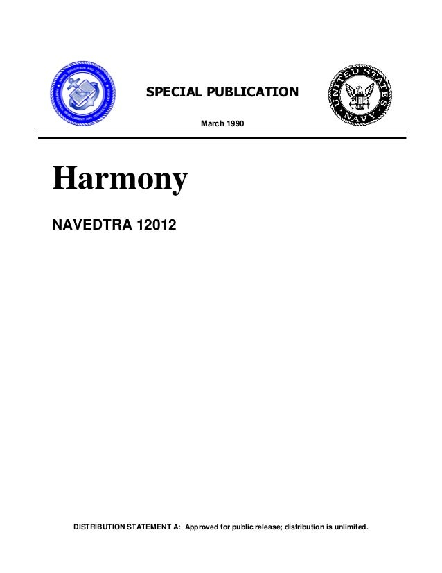 DISTRIBUTION STATEMENT A: Approved for public release; distribution is unlimited. SPECIAL PUBLICATION March 1990 Harmony N...