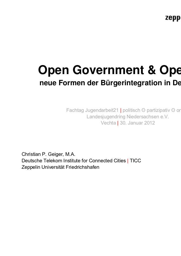 Open Government & Open Data        neue Formen der Bürgerintegration in Deutschland                    Fachtag Jugendarbei...