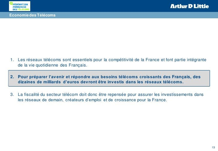 Economie des Télécoms1. Les réseaux télécoms sont essentiels pour la compétitivité de la France et font partie intégrante ...