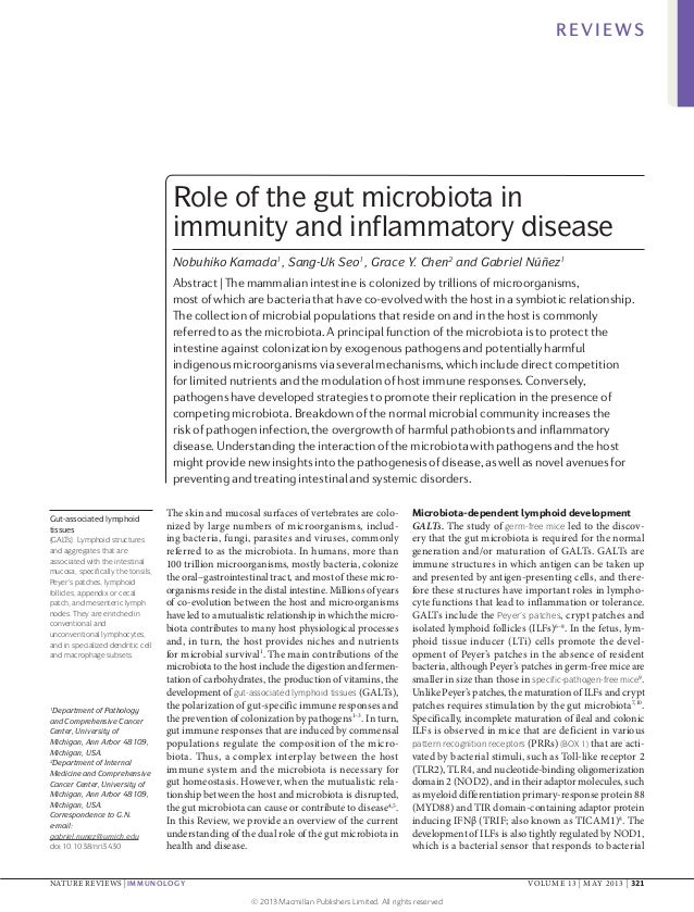 REVIEWS  Role of the gut microbiota in immunity and inflammatory disease Nobuhiko Kamada1, Sang‑Uk Seo1, Grace Y. Chen2 an...