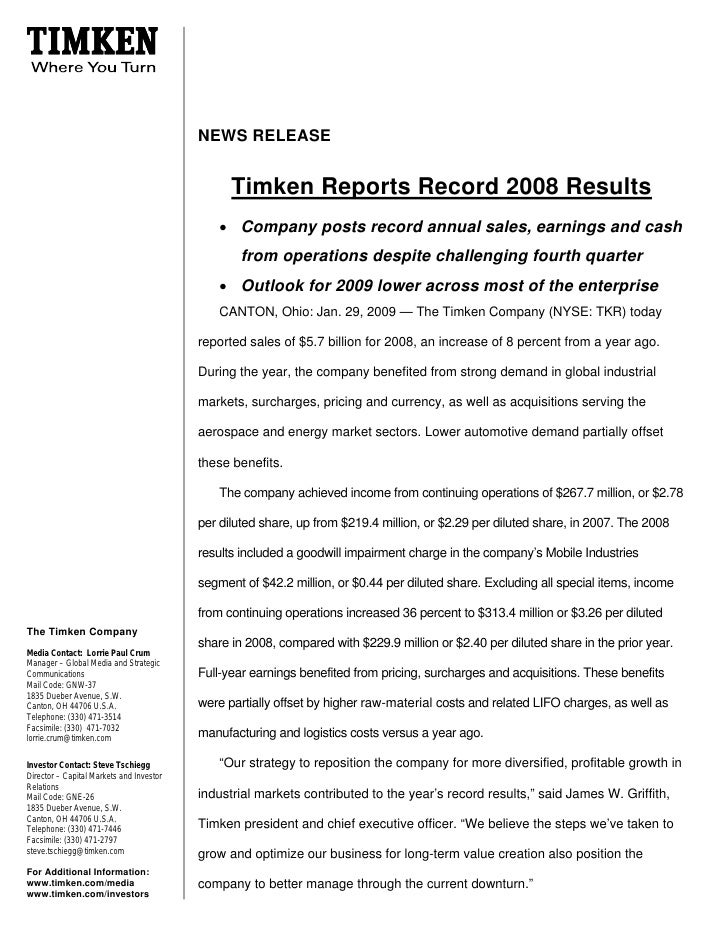 NEWS RELEASE                                                   Timken Reports Record 2008 Results                         ...