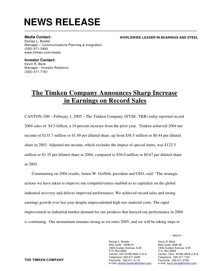 NEWS RELEASE Media Contact:                                             WORLDWIDE LEADER IN BEARINGS AND STEEL Denise L. B...