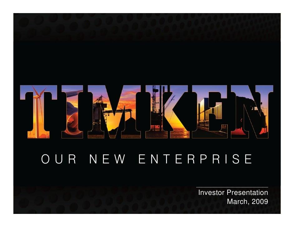 OUR NEW ENTERPRISE              _________________________              Investor Presentation                       March, ...