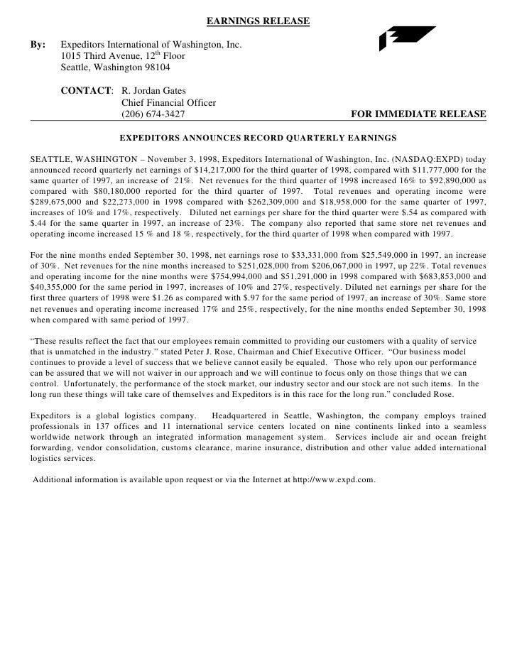 EARNINGS RELEASE  By:     Expeditors International of Washington, Inc.         1015 Third Avenue, 12th Floor         Seatt...