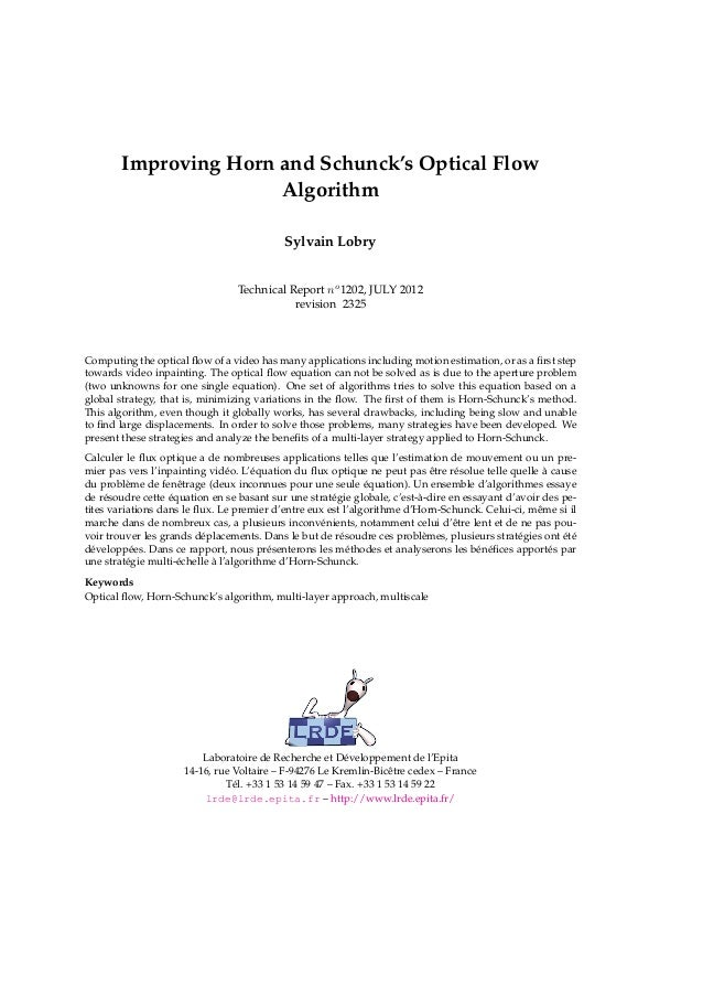 Improving Horn and Schunck's Optical Flow                       Algorithm                                           Sylvai...