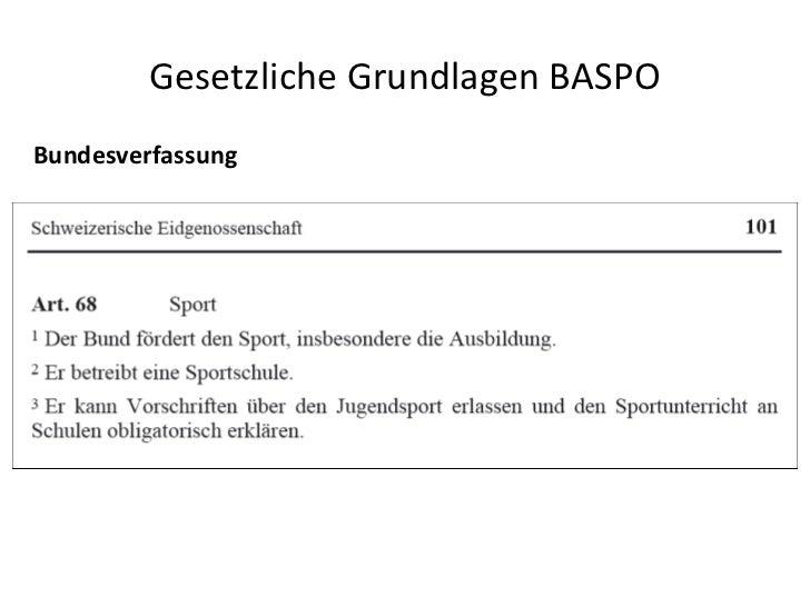Gesetzliche Grundlagen BASPO Bundesverfassung