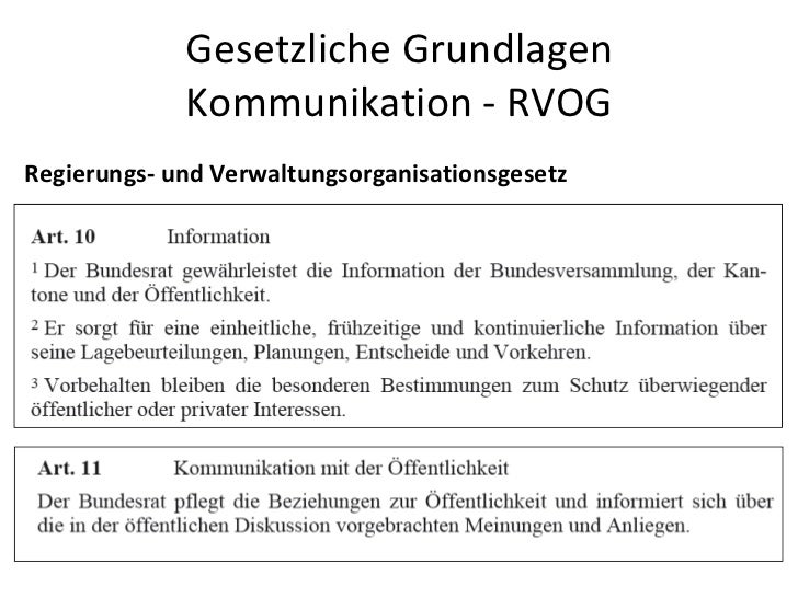 Gesetzliche Grundlagen Kommunikation - RVOG Regierungs- und Verwaltungsorganisationsgesetz