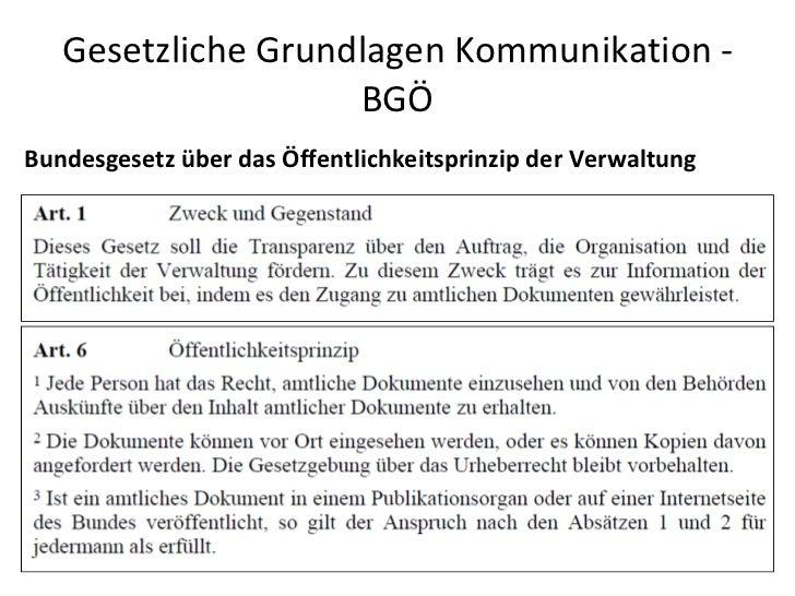 Gesetzliche Grundlagen Kommunikation - BGÖ Bundesgesetz über das Öffentlichkeitsprinzip der Verwaltung