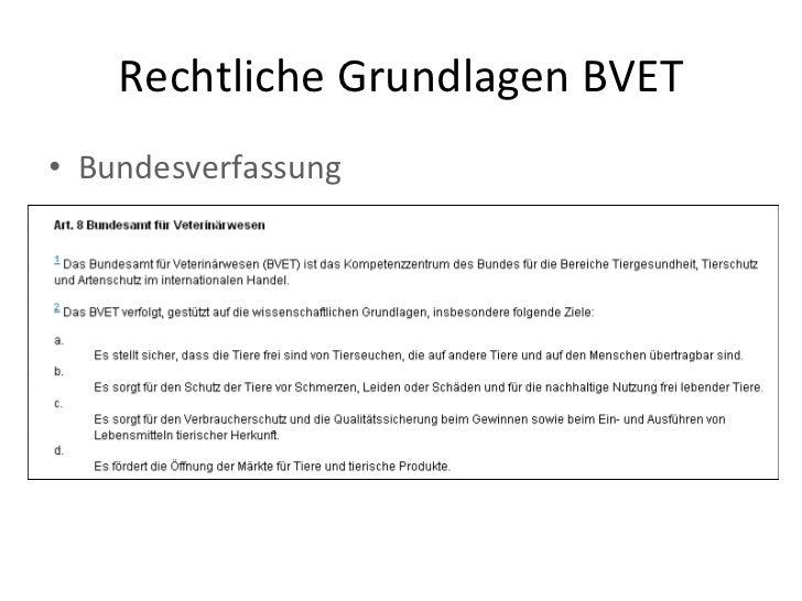 Rechtliche Grundlagen BVET <ul><li>Bundesverfassung </li></ul>