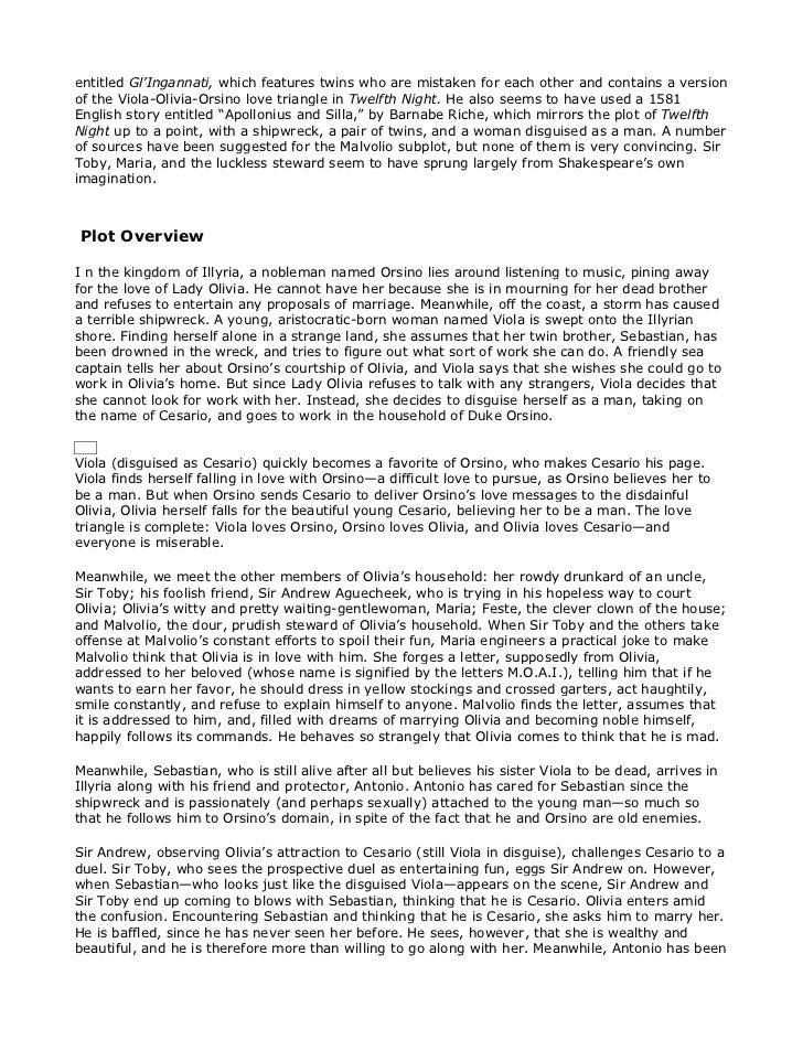 Twelfth night essay topics