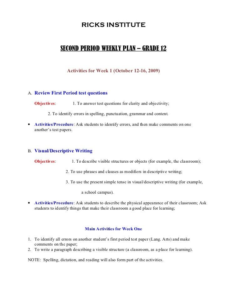 ponga s lesson plans for grade x ricks institute second period weekly plan grade 12