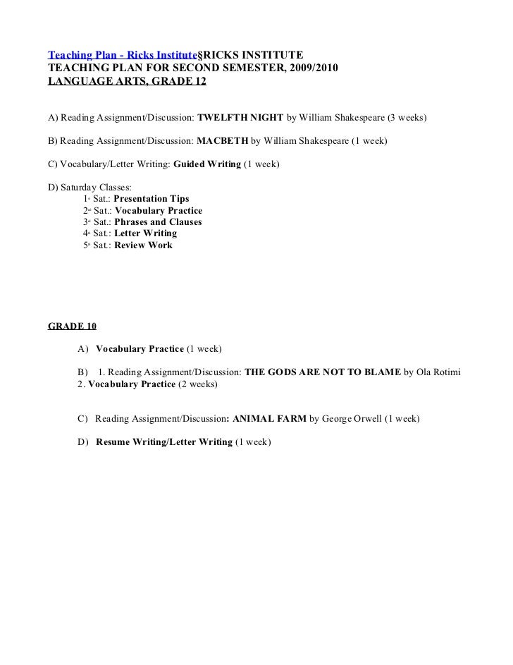 Teaching Plan - Ricks Institute§RICKS INSTITUTETEACHING PLAN FOR SECOND SEMESTER, 2009/2010LANGUAGE ARTS, GRADE 12A) Readi...