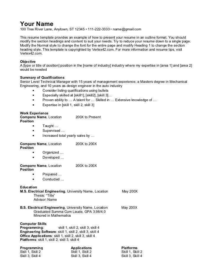 Your Name100 Tree River Lane, Anytown, ST 12345 • 111-222-3333 • name@gmail.comThis resume template provides an example of...
