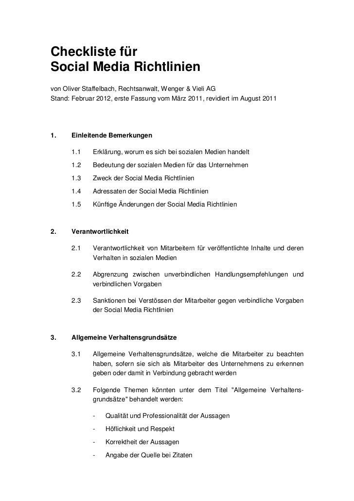 Checkliste fürSocial Media Richtlinienvon Oliver Staffelbach, Rechtsanwalt, Wenger & Vieli AGStand: Februar 2012, erste Fa...