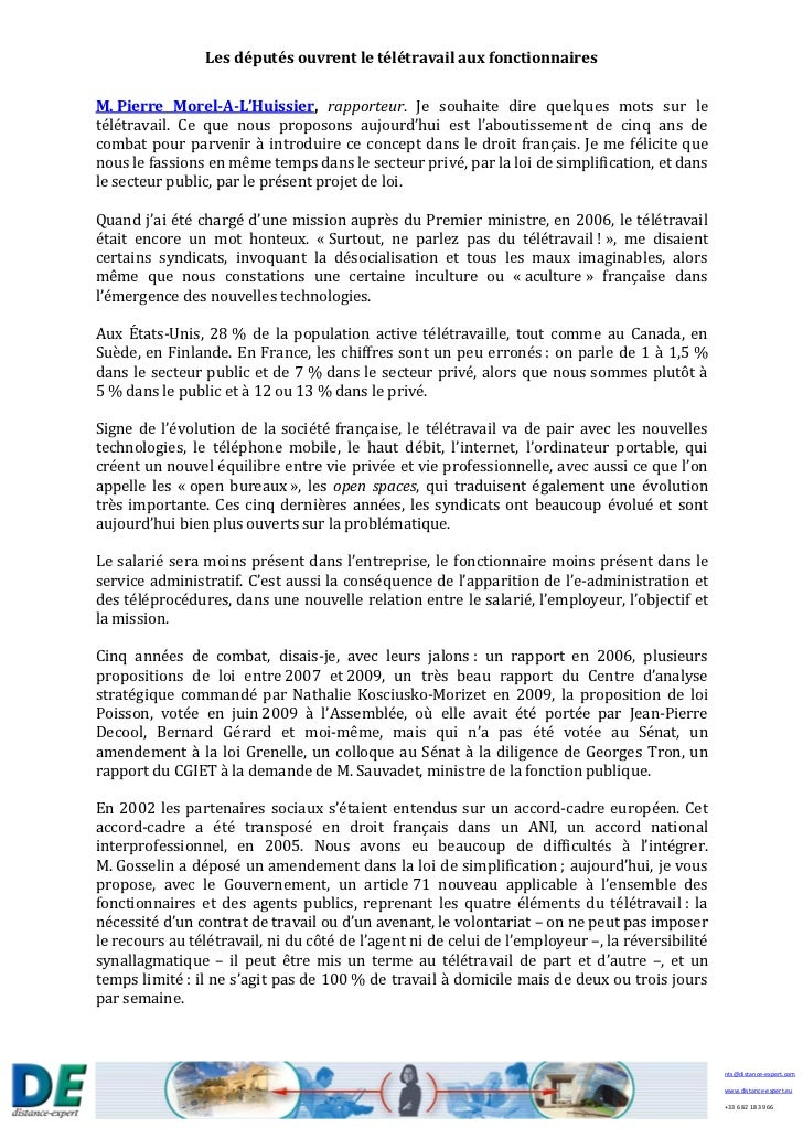 Les députés ouvrent le télétravail aux fonctionnairesM. Pierre Morel-A-L'Huissier, rapporteur. Je souhaite dire quelques m...