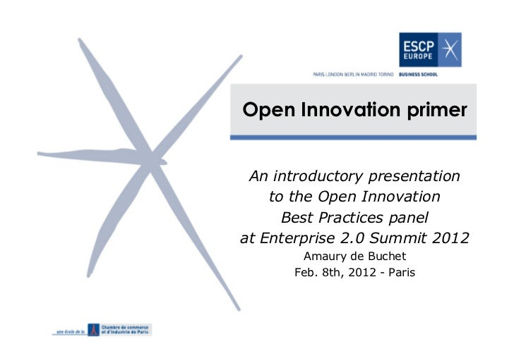 Open Innovation primer An introductory presentation    to the Open Innovation      Best Practices panelat Enterprise 2.0 S...
