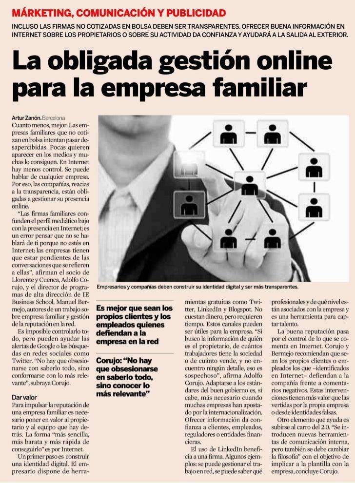 La empresa familiar y su reputación en Internet