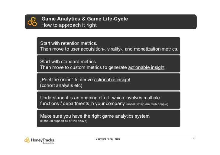 Game Analytics & Game Life-CycleHow to approach it rightStart with retention metrics.Then move to user acquisition-, viral...