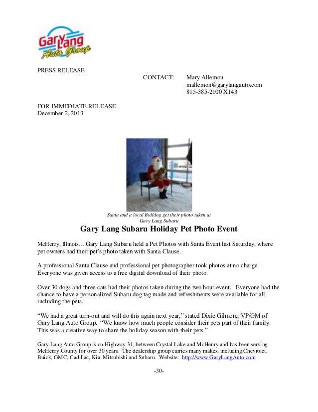 PRESS RELEASE CONTACT:  Mary Allemon mallemon@garylangauto.com 815-385-2100 X143  FOR IMMEDIATE RELEASE December 2, 2013  ...