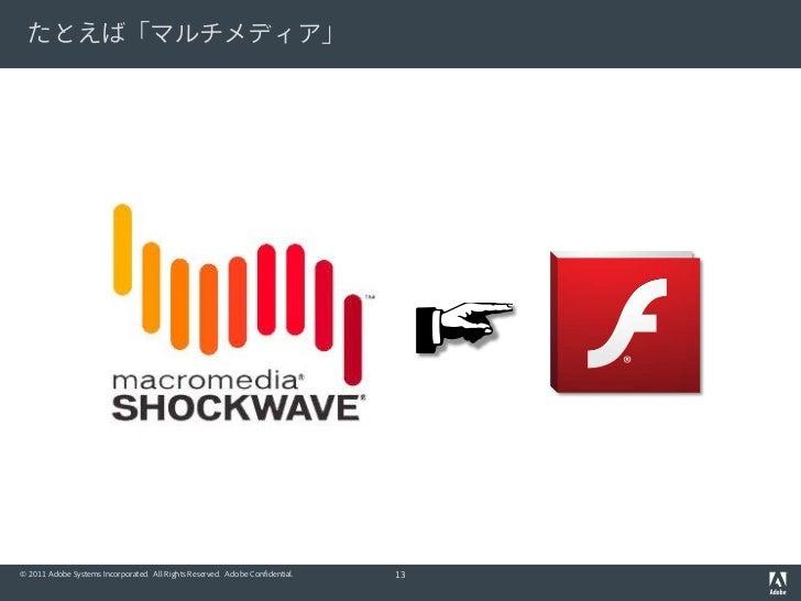 たとえば「マルチメディア」© 2011 Adobe Systems Incorporated. All Rights Reserved. Adobe Confidential.   13