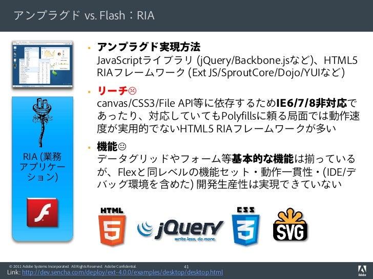 アンプラグド vs. Flash:RIA                                                  アンプラグド実現方法                                         ...