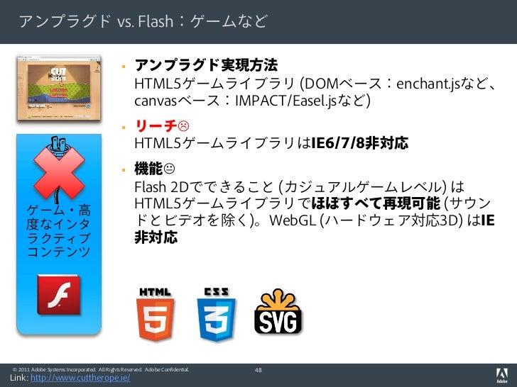 アンプラグド vs. Flash:ゲームなど                                                  アンプラグド実現方法                                       ...
