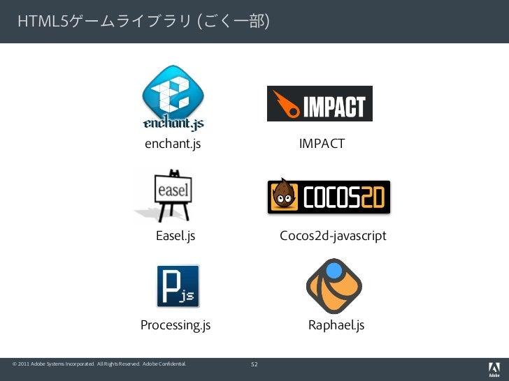 HTML5ゲームライブラリ (ごく一部)                                                         enchant.js                   IMPACT          ...