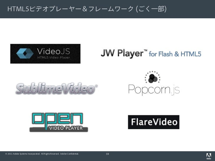 HTML5ビデオプレーヤー&フレームワーク (ごく一部)© 2011 Adobe Systems Incorporated. All Rights Reserved. Adobe Confidential.   59