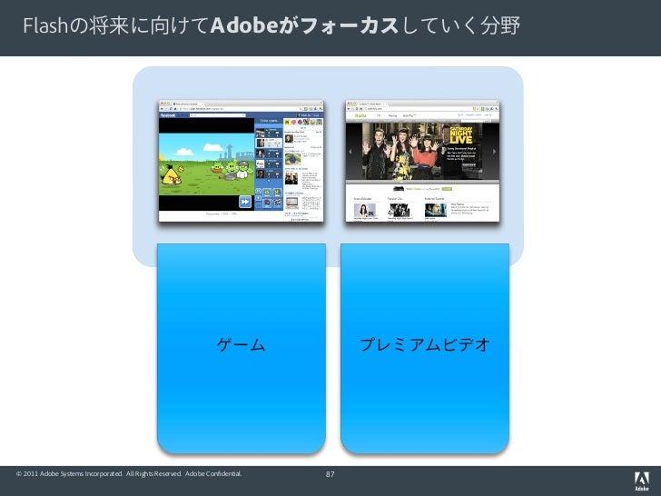 Flashの将来に向けてAdobeがフォーカスしていく分野                                                                  ゲーム              プレミアムビデオ© ...