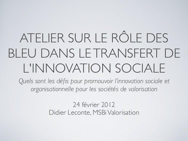 ATELIER SUR LE RÔLE DESBLEU DANS LE TRANSFERT DE  LINNOVATION SOCIALE Quels sont les défis pour promouvoir l'innovation soc...