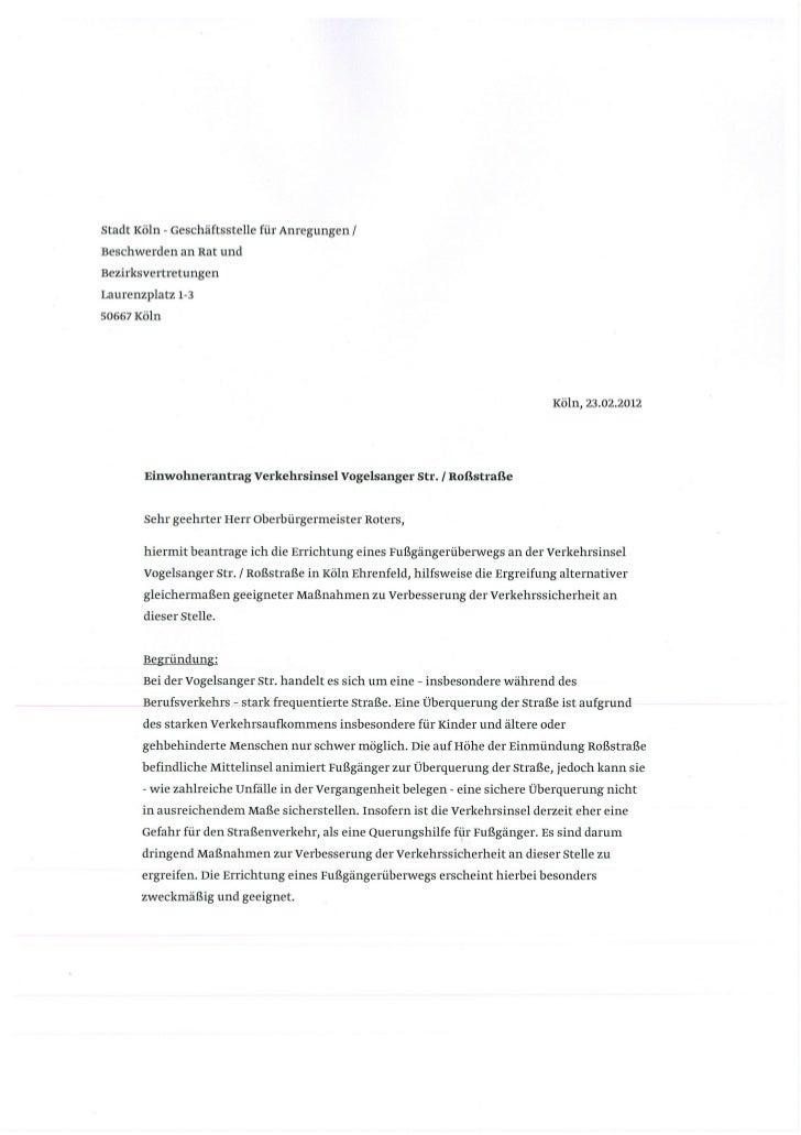 Route66: Antrag zur Petition für sicheren Fußgängerüberweg in Köln Ehrenfeld