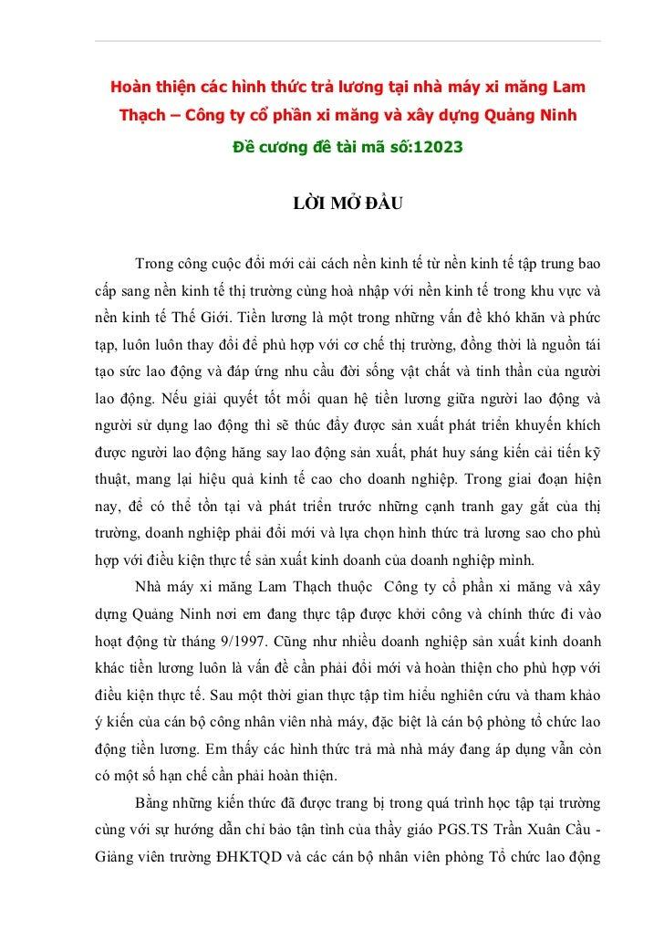 Hoàn thiện các hình thức trả lương tại nhà máy xi măng Lam   Thạch – Công ty cổ phần xi măng và xây dựng Quảng Ninh       ...