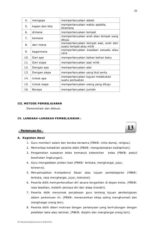 Rpp Berkarakter Bahasa Indonesia Smk Kelas X Semester 2