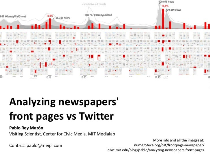 Analyzing newspapersfront pages vs TwitterPablo Rey MazónVisiting Scientist, Center for Civic Media. MIT Medialab         ...
