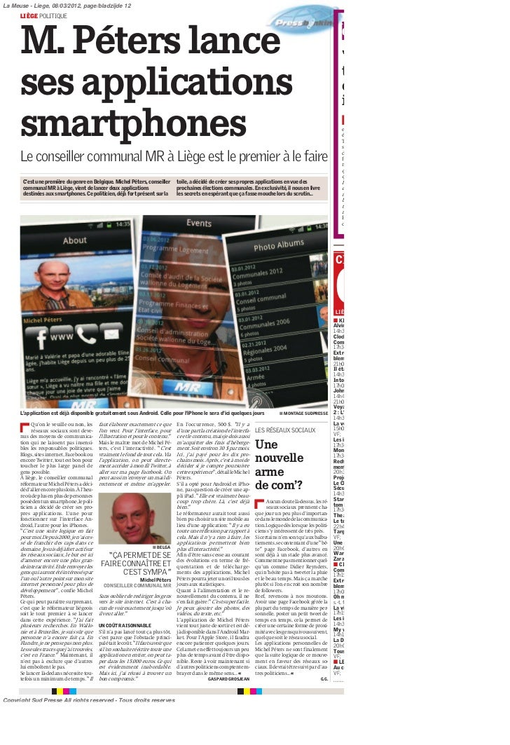 La Meuse - Liege, 08/03/2012, page/bladzijde 12      LIÈGE POLITIQUE                                                      ...