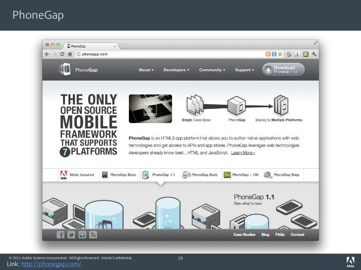 PhoneGap© 2011 Adobe Systems Incorporated. All Rights Reserved. Adobe Confidential.   29Link: http://phonegap.com/