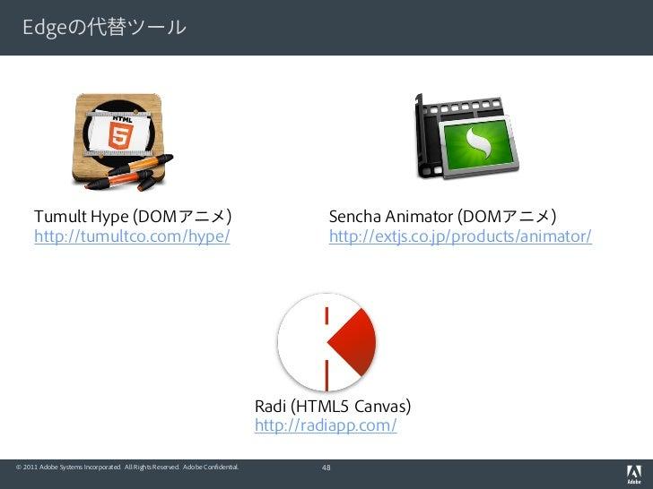 Edgeの代替ツール      Tumult Hype (DOMアニメ)                                                             Sencha Animator (DOMアニメ) ...